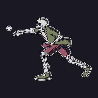 빈티지 티셔츠 디자인 해골은 야구 그림을 던집니다.