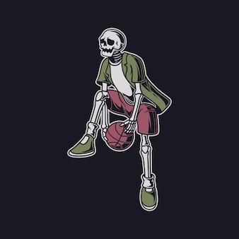 빈티지 티셔츠 디자인 두개골은 기술 농구 그림을 수행합니다.
