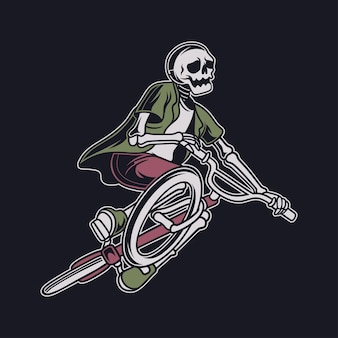 Vintage t shirt design skull playing bike with flying position and tilting his bicycle bicycle illustration