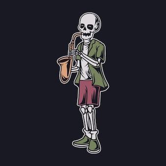 Винтажный дизайн футболки череп играет на трубе музыкальная иллюстрация