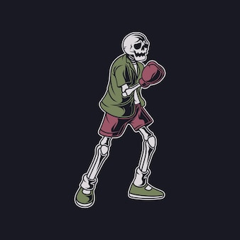 Vintage t shirt design the skull prepares to hit the top boxing illustration
