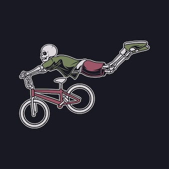 Vintage t shirt design a skull with a flying position in a hovering style bicycle illustration