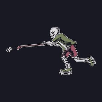 빈티지 티셔츠 디자인 해골은 맨 위 볼 위치 하키 그림에 막대기로 공을 잡는다
