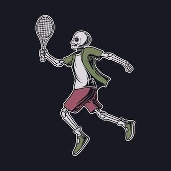 빈티지 티셔츠 디자인은 라켓 테니스 일러스트와 함께 점프 위치에서 두개골을 디자인합니다.