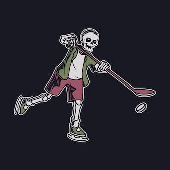 그의 스틱 하키 삽화로 공을 잡는 위치에 있는 빈티지 티셔츠 디자인 두개골