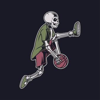 Винтажный дизайн футболки череп выполняет навык, вращая мяч под ногами иллюстрация корзины