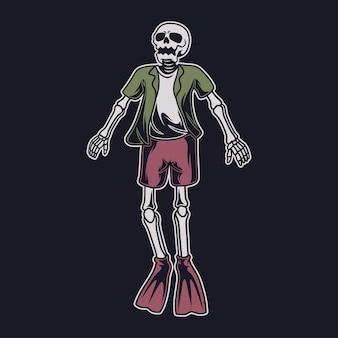 빈티지 티셔츠 디자인 수면 다이빙 그림으로 떠오르는 해골