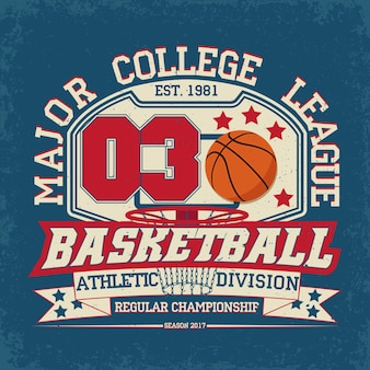 Vintage t-shirt graphic ,  grange print stamp, basketball typography emblem, sports logo
