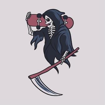 Vintage t shirt side view grim reaper carrying skateboard board reaper illustration