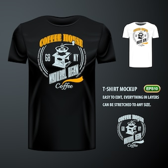 Vintage t-shirt with stylish coffee bean grinder. editable mock up