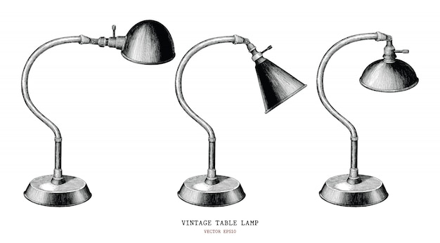 Vintage table lamp collection hand draw vintage engraving antique style isolated on white background