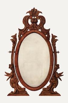 Illustrazione vettoriale di specchio da tavolo vintage, remixata dall'opera d'arte di helen bronson