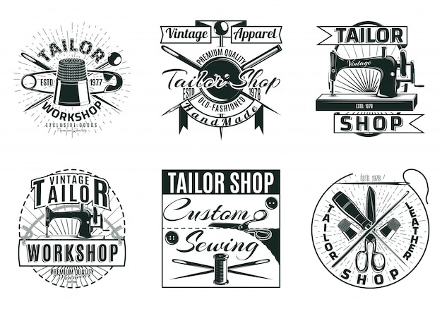 Vintage tailor workshop labels set