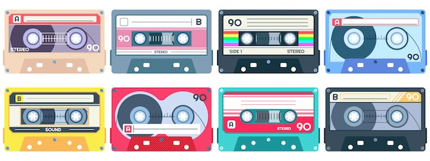 Vintage tape cassette. retro mixtape, 1980s pop songs tapes and stereo music cassettes  set