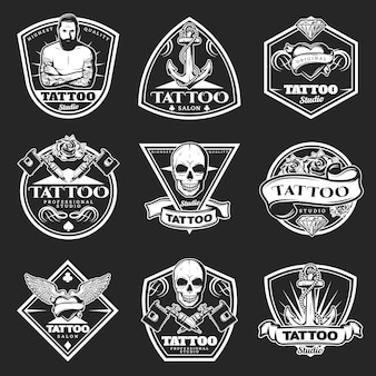 Vintage tatoo studio logos set