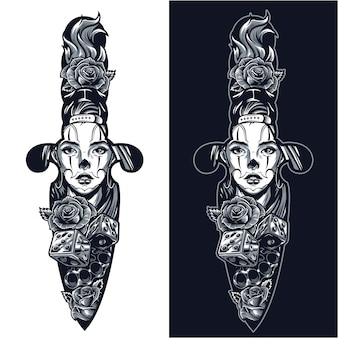 Vintage tattoo in dagger shape concept Free Vector