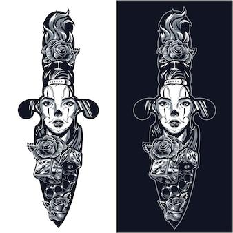 Vintage tattoo in dagger shape concept