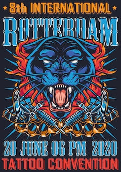 Vintage tattoo fest in rotterdam poster
