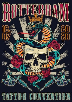 빈티지 문신 축제 화려한 포스터