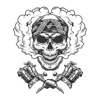 Vintage tattoo master skull in cloud