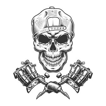 Винтажный мастер татуировки черепа в кепке