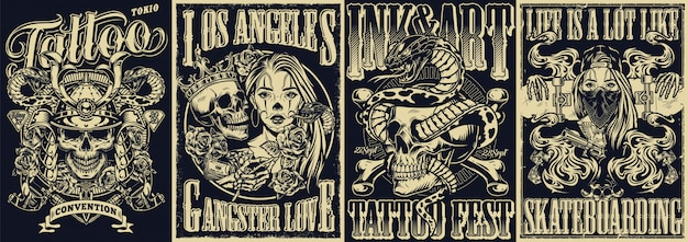 Vintage tattoo monochrome posters set