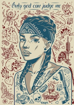 Vintage tattoo poster with pretty chicano girl in bandana animals