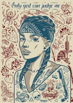 Винтажный тату-постер с симпатичной девушкой из чикано в бандане с животными