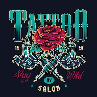 Vintage tattoo salon logotype