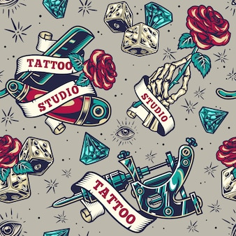 Vintage tattoo seamless pattern