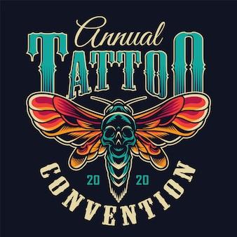 Vintage tattoo studio colorful badge