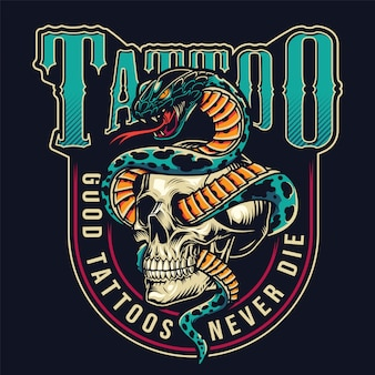 Vintage tattoo studio colorful label