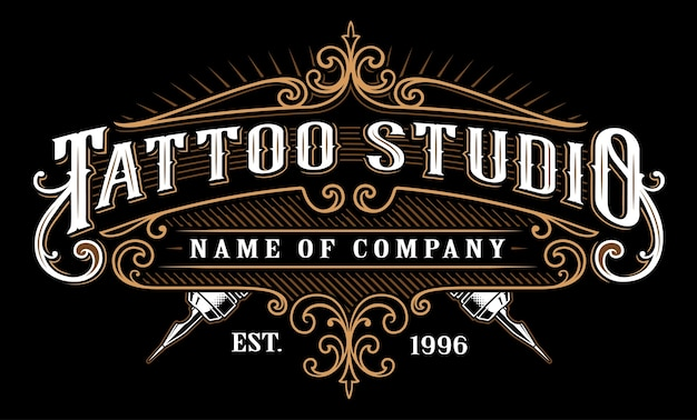 빈티지 문신 스튜디오 상징. 복고 스타일 프레임에 문신 글자. 텍스트는 별도의 레이어에 있습니다. (어두운 배경 용 버전)