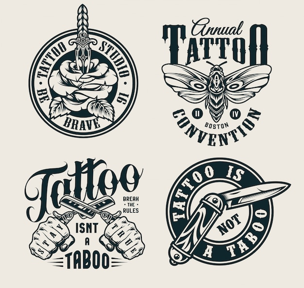 Vintage tattoo studio logos