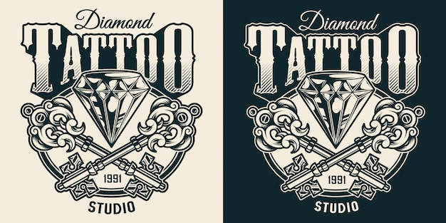Vintage tattoo studio monochrome print