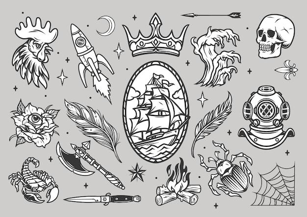 Винтажная коллекция татуировок с петухом жуком скорпиона стрела черепа корона ракетный топор нож паутина костровые перья водолазный шлем морская волна роза со всевидящим глазом