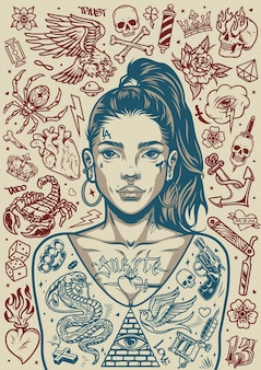 Vintage tattoos monochrome poster of pretty chicano girl with ponytail and various tattoo