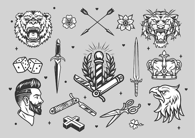 이발사 동물 화살표 칼 왕관 주사위 꽃 디자인 빈티지 문신 흑백 세트