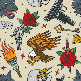 Vintage tattoos seamless pattern with angry wolf head, eagle and skeleton hand