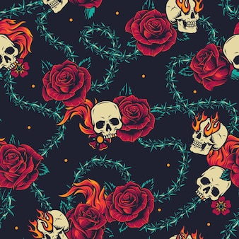 Vintage tattoos seamless pattern with skull, flowers, flames and barbed wire thorns