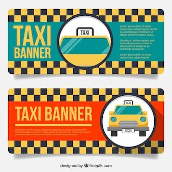 회색과 노란색 사각형으로 빈티지 택시 배너