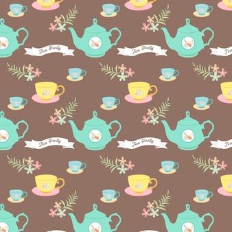 Vintage tea party pattern design
