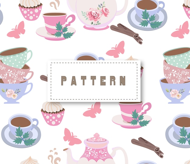 Vintage tea party seamless pattern