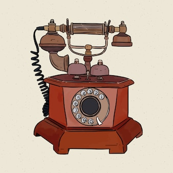 Vintage telephone, hand draw sketch .