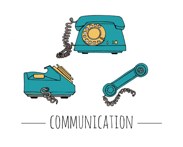 Vintage telephone set. retro illustration of wired rotary dial telephone. old means of communication