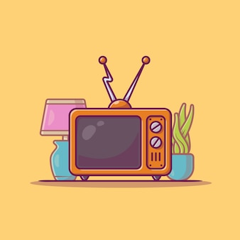 Vintage television cartoon icon illustration.