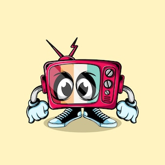 Vintage television doodle character
