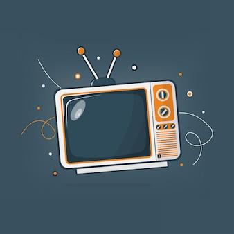 Vintage television vector illustration in flat design