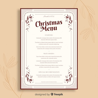 Vintage template christmas menu