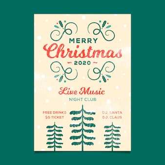 Vintage template christmas party flyer